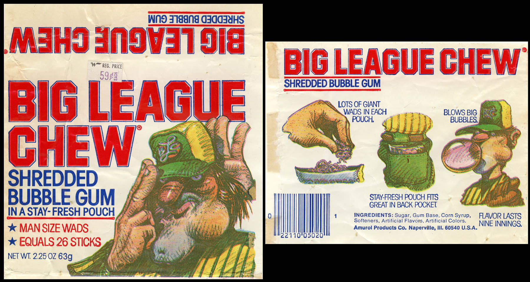 A front-and-back panel from an original 1980 Big League Chew pouch.