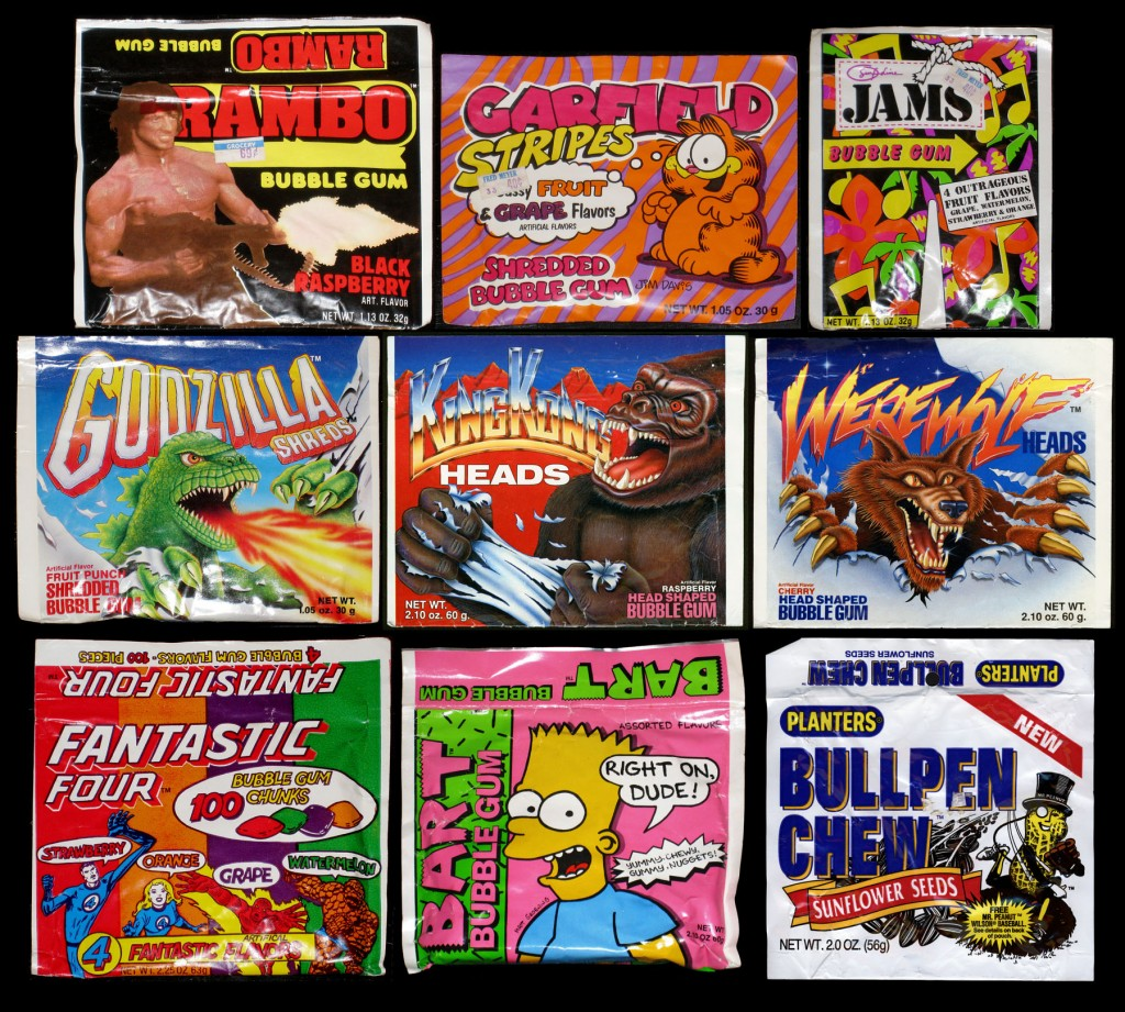 Assorted pouch bubble gum (and one sunflower seeds) packaging - 1980's-1990's