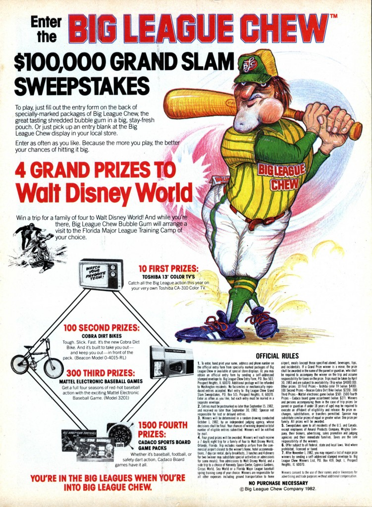 1982&#039;s One-Hundred Glad Slam Sweepstakes promo - magazine ad