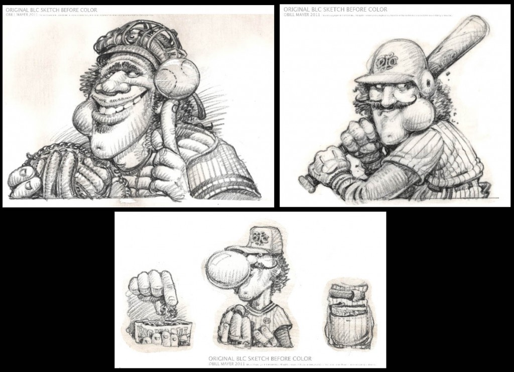 Additional Big League Chew Bill Mayer sketches.