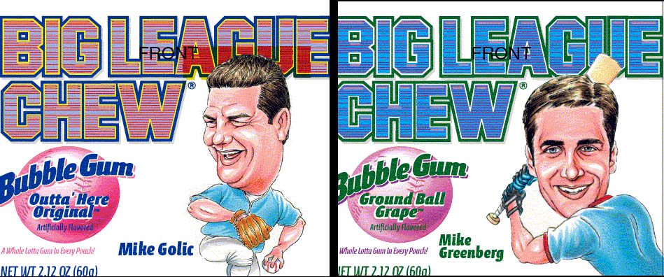 Mike and Mike Big League Chew package graphics - Early 2000's