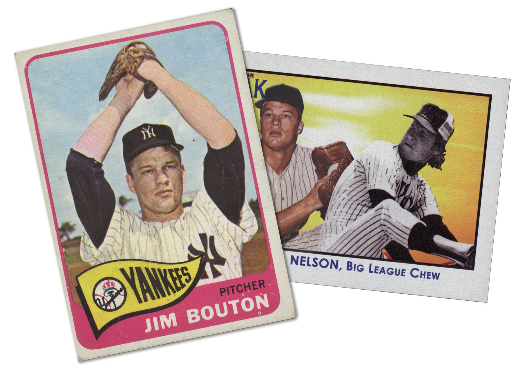 Jim Bouton and Rob Nelson - in baseball card form.