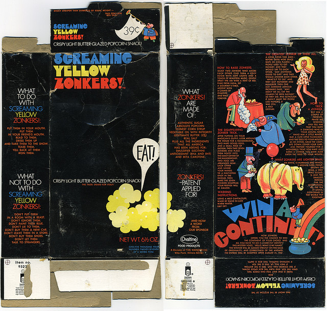 Screaming Yellow Zonkers - Win a Continent promotion box - early 1970's