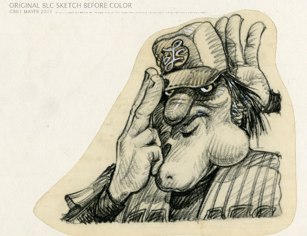 Bill Mayer sketch of original Big League Chew mascot.
