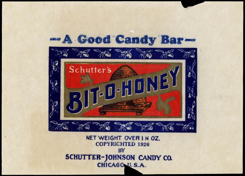 Schutter-Johnson Candy Company - Bit-O-Honey - candy wrapper - 1920's-1930's