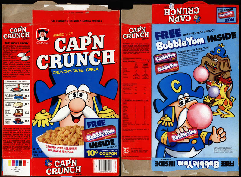 Cap'n Crunch with free Bubble Yum gum cereal box - 1982