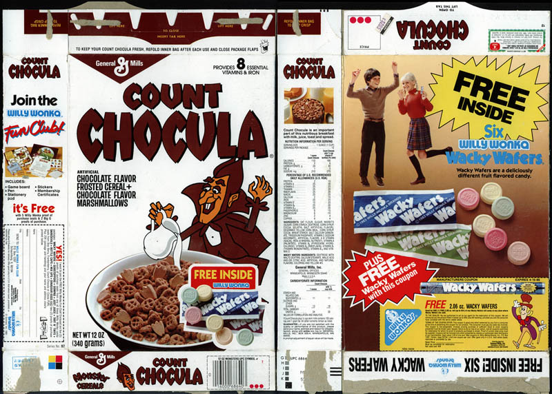 Count Chocula - Free Willy Wonka Wacky Wafers cereal box - 1985