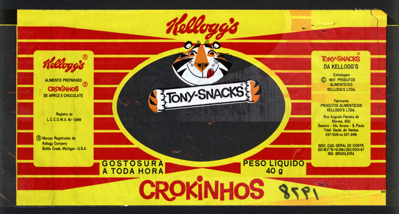 Kellogg's Tony-Snacks Crokinhos - chocolate and rice candy bar wrapper from Brazil - 1978