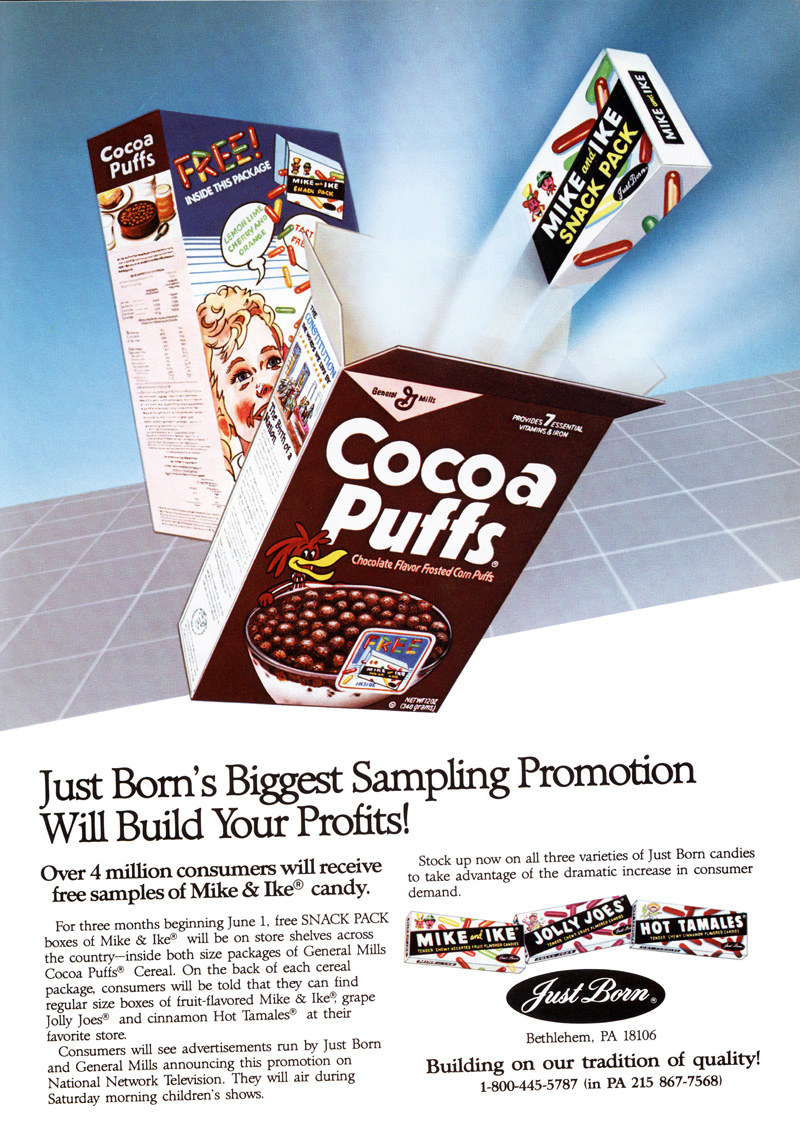 Cocoa Puffs with free Mike and Ike candy - advertisement from 1987