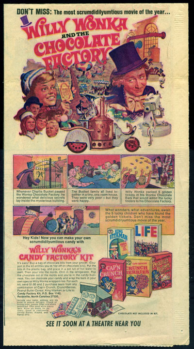 Quaker's Willy Wonka newspaper ad - 1971