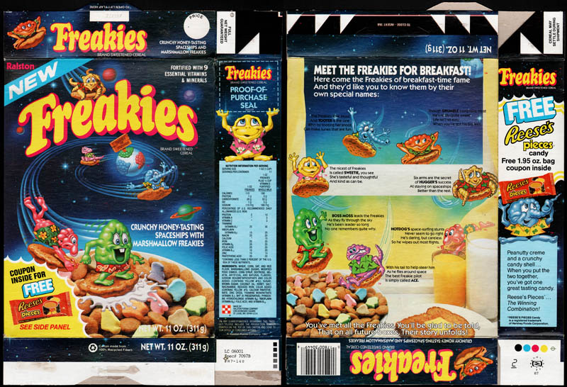 Freakies with free Reese's Pieces candy - cereal box - 1987