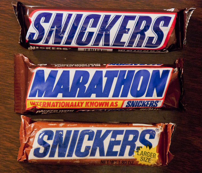 Snickers bars of three eras