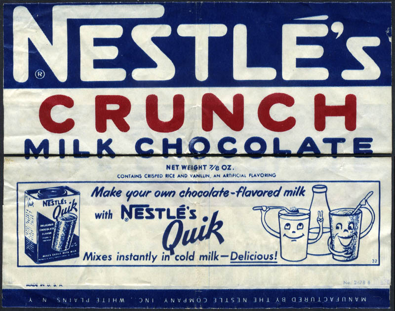CC Nestle S Crunch Nestle S Quik Candy Bar Wrapper 1950 S