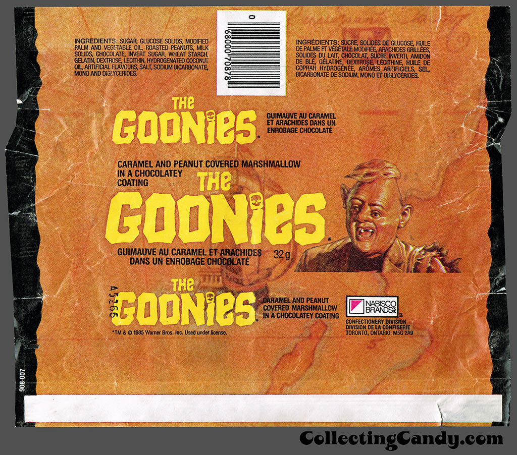Canada - Nabisco - The Goonies - candy bar wrapper - 1985
