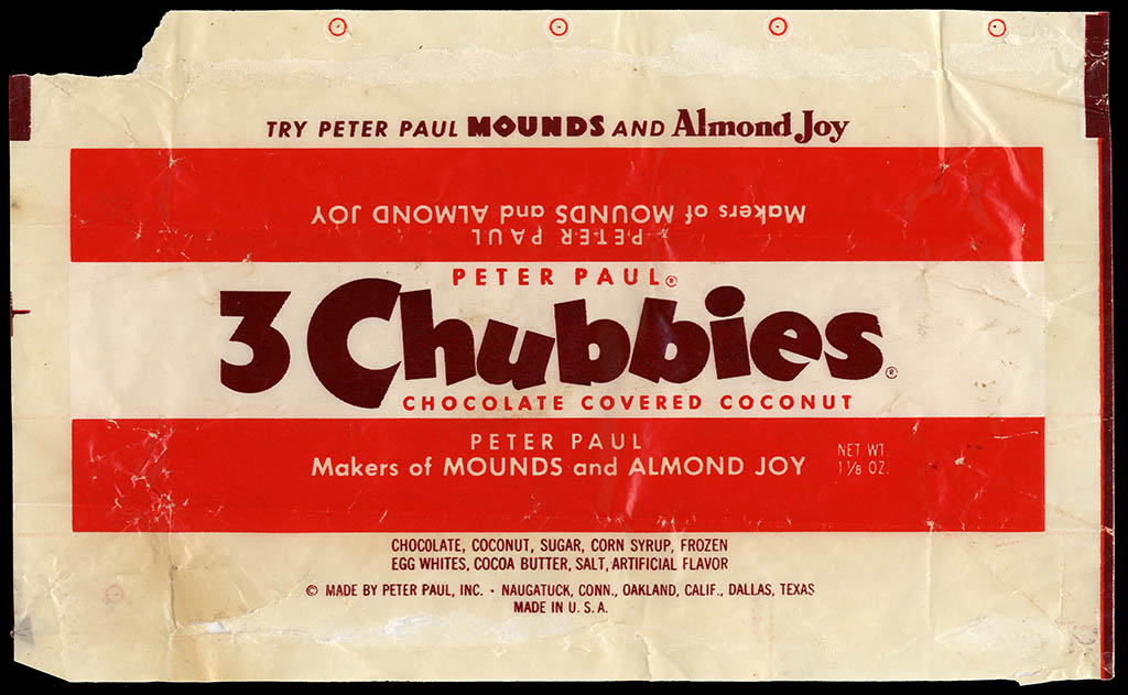 Peter Paul - 3 Chubbies - candy bar wrapper - 1940's 1950's