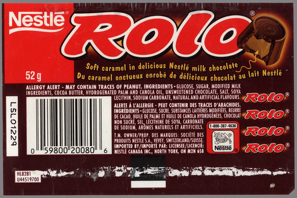 Cc Canada Nestle Rolo Candy Roll Wrapper 1990 S