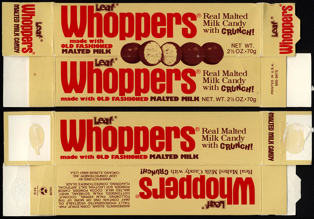 CC Leaf Whoppers Old Fashioned Malted Milk 2 12 Oz Candy Box 1970s Kallok