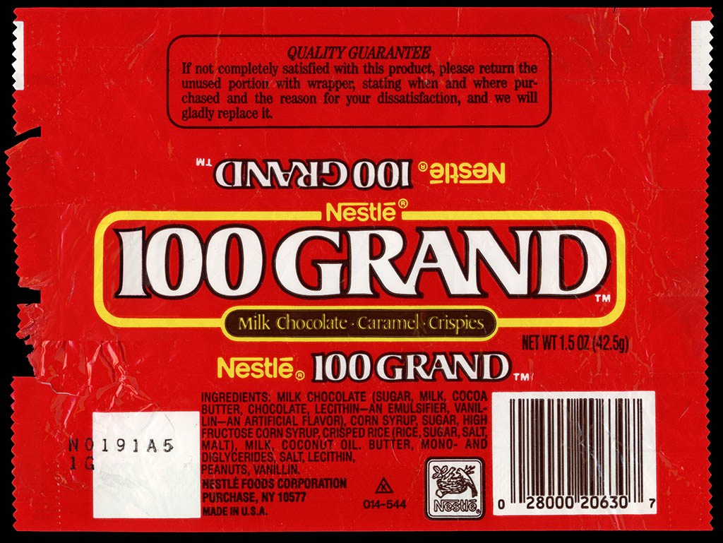 CC_Nestle – 100 Grand – chocolate candy bar wrapper – late 1980's ...