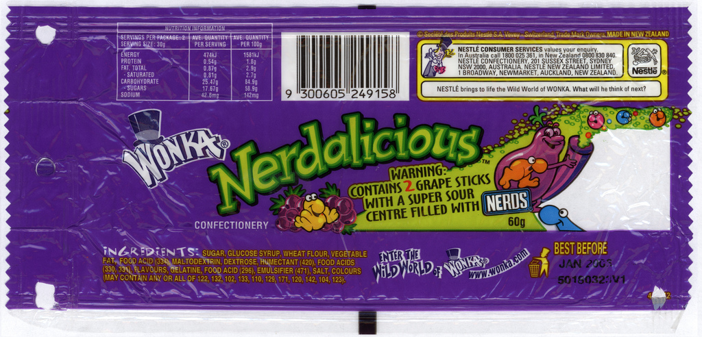 CC_UK Nerdalicious wrapper – early 2000's | CollectingCandy com