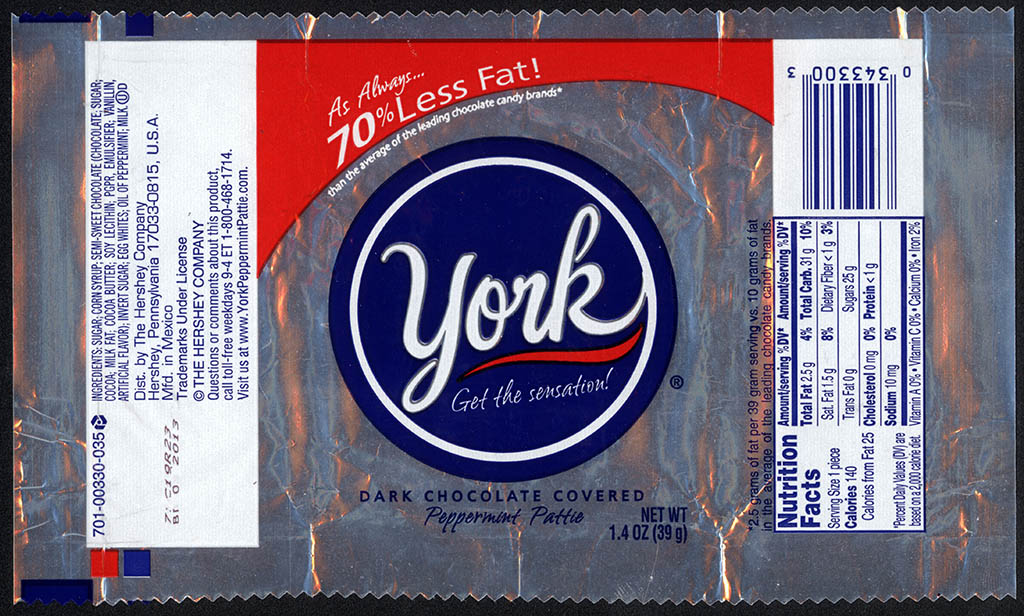 ... dark chocolate covered Peppermint Pattie - foil candy wrapper - 2012