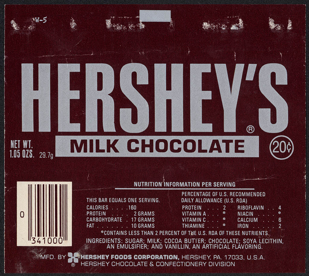 Cc Hershey S Chocolate Bar Wrapper Late 1970 S Collectingcandy Com