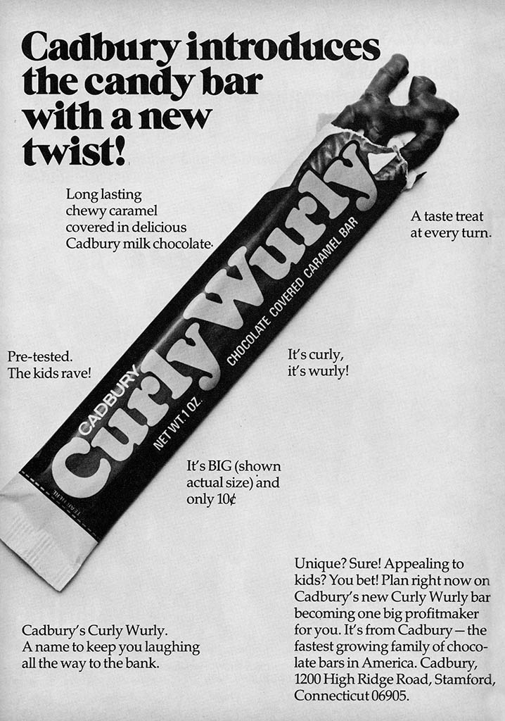 Cadbury USA - CurlyWurly trade ad - August 1973