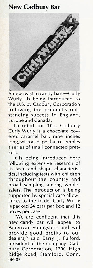 USA - Cadbury CurlyWurly trade announcement - August 1973