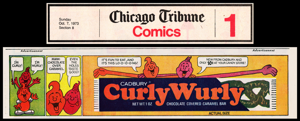 Cadbury - Curly Wurly -CurlyWurly- newpaper advertisement - Chicago Tribune comic section - Oct 7 1973