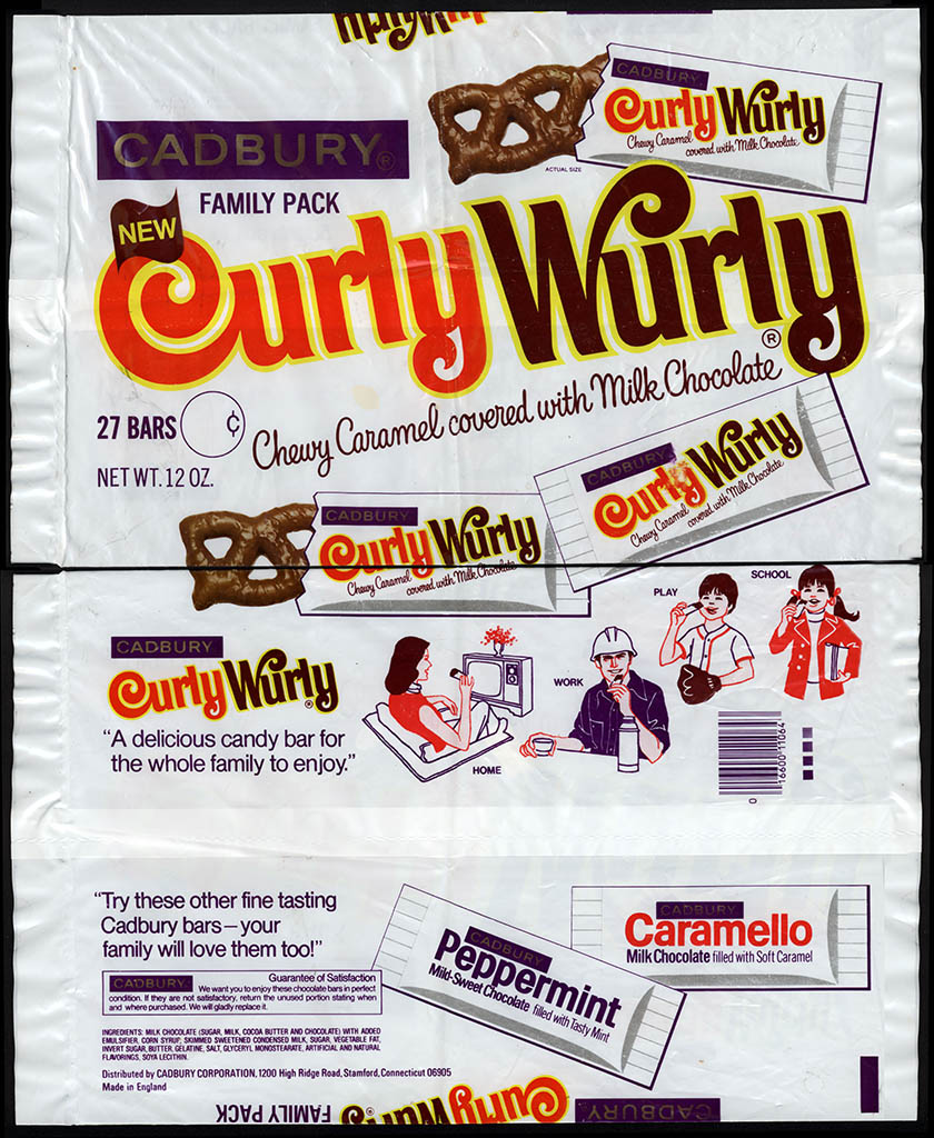 Cadbury USA - Curly Wurly - Family Pack 12oz candy package outer bag - 1978