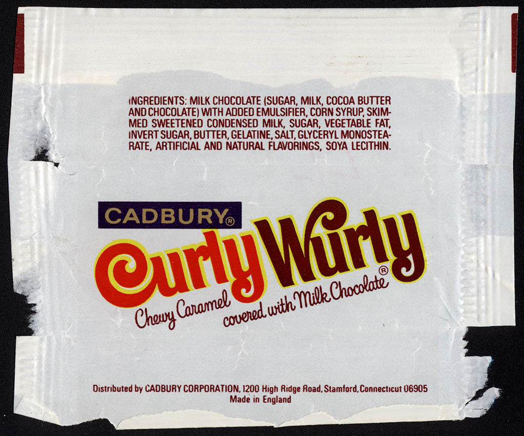 Cadbury USA - Curly Wurly - fun size candy bar wrapper - 1977