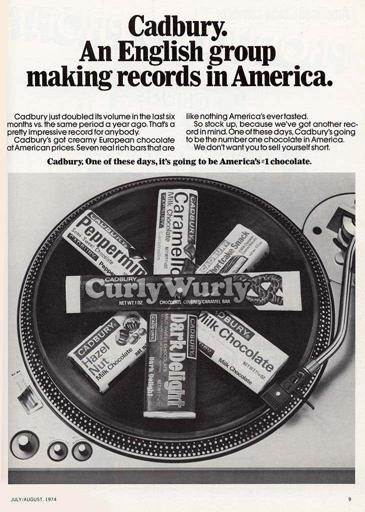 Cadbury USA - CurlyWulry trade ad - July 1974