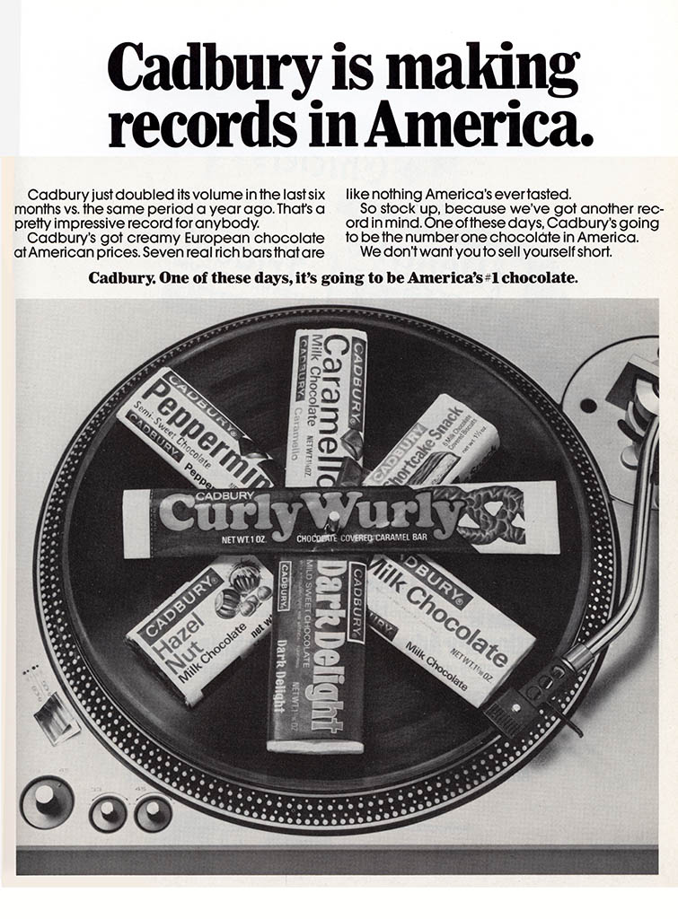 Cadbury USA - CurlyWulry trade ad - September 1974