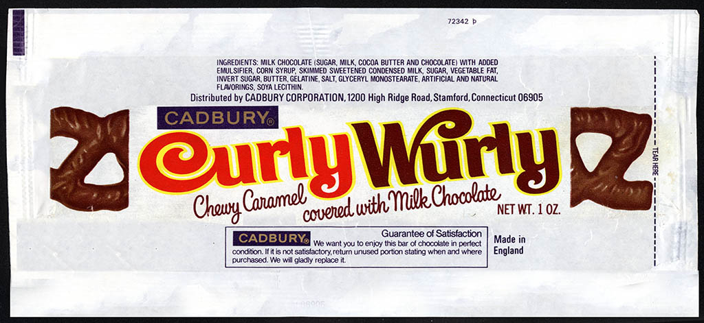 Cadbury USA - CurlyWurly chocolate bar candy wrapper - 1976