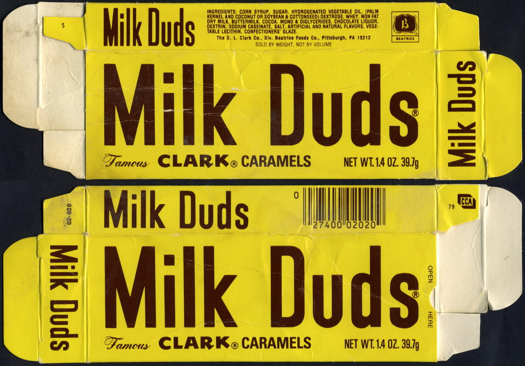 Beatrice - Clark - Milk Duds candy box - 1979/1980