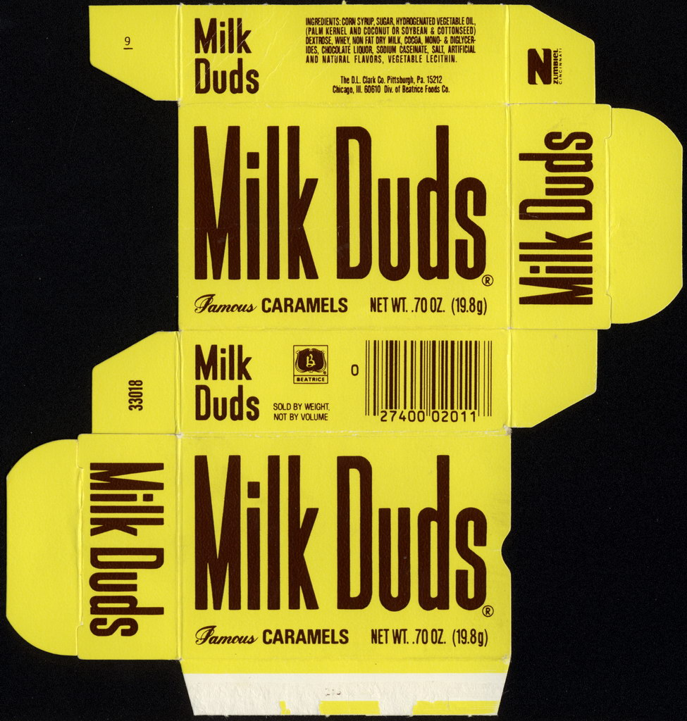 Beatrice - DL Clark - Milk Duds -  0.7 oz candy box - 1981