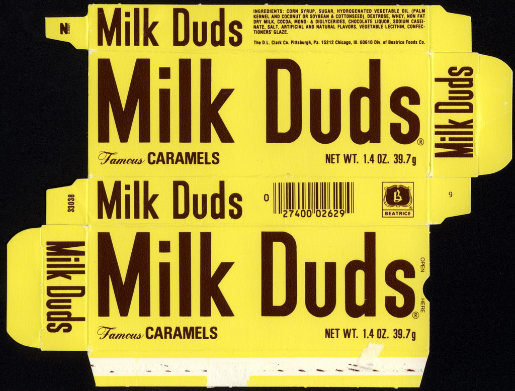 Beatrice - DL Clark - Milk Duds - Famous Caramels - 1.4oz candy box - 1980