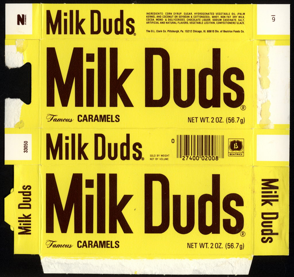 Beatrice - DL Clark - Milk Duds - Famous Caramels - 2 oz candy box - 1982