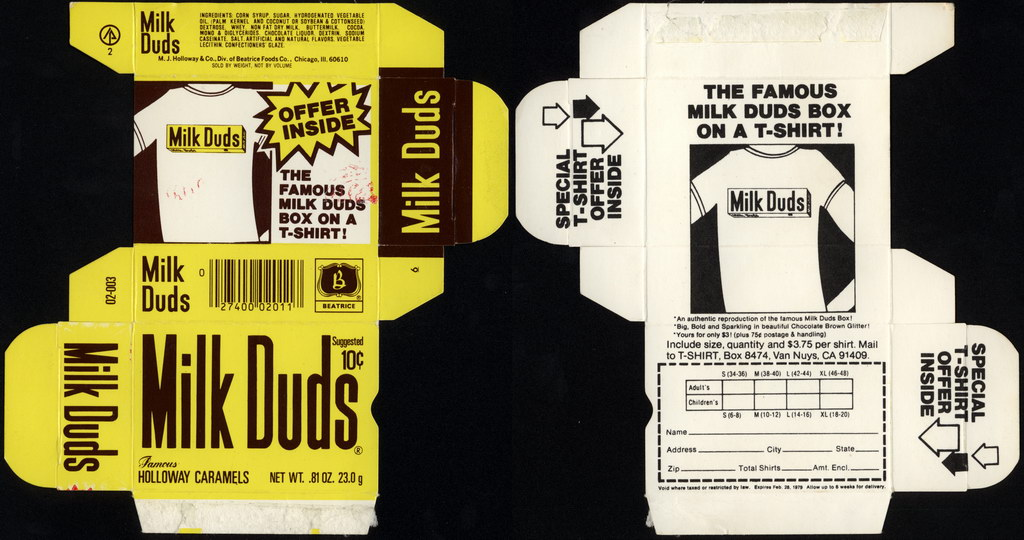 Beatrice - Holloway - Milk Duds - 10-cent candy box flat - T-Shirt offer - 1978