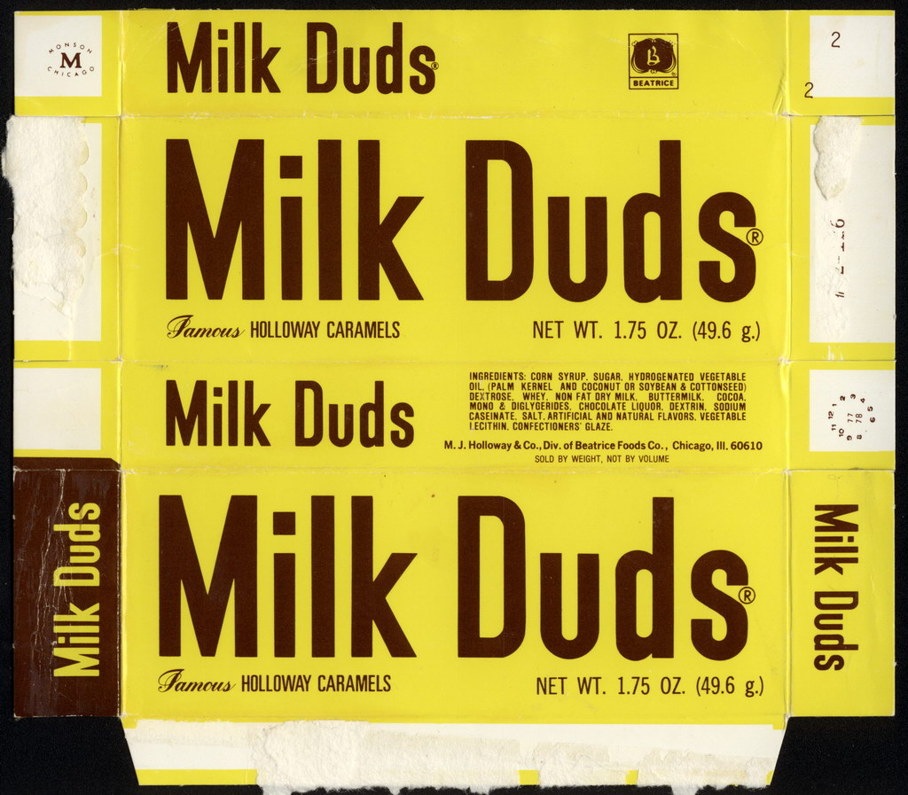 Beatrice - Holloway - Milk Duds - 1.75oz candy box - 1978