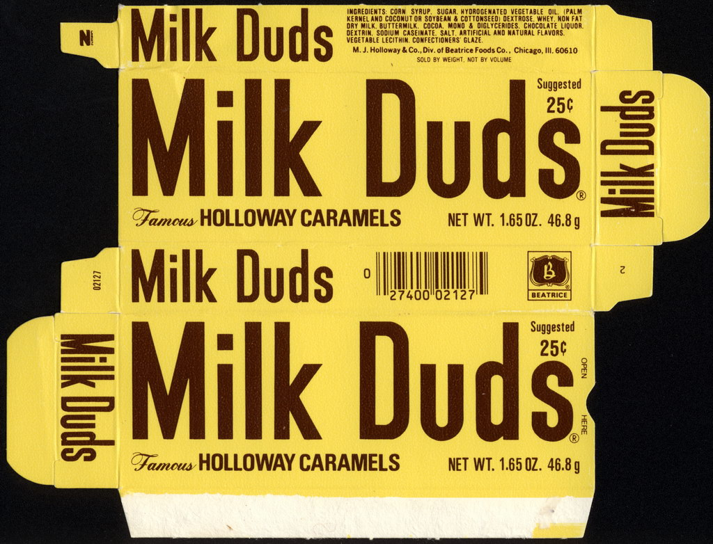 Beatrice - Holloway - Milk Duds - 25-cent 1.65oz candy box - 1979