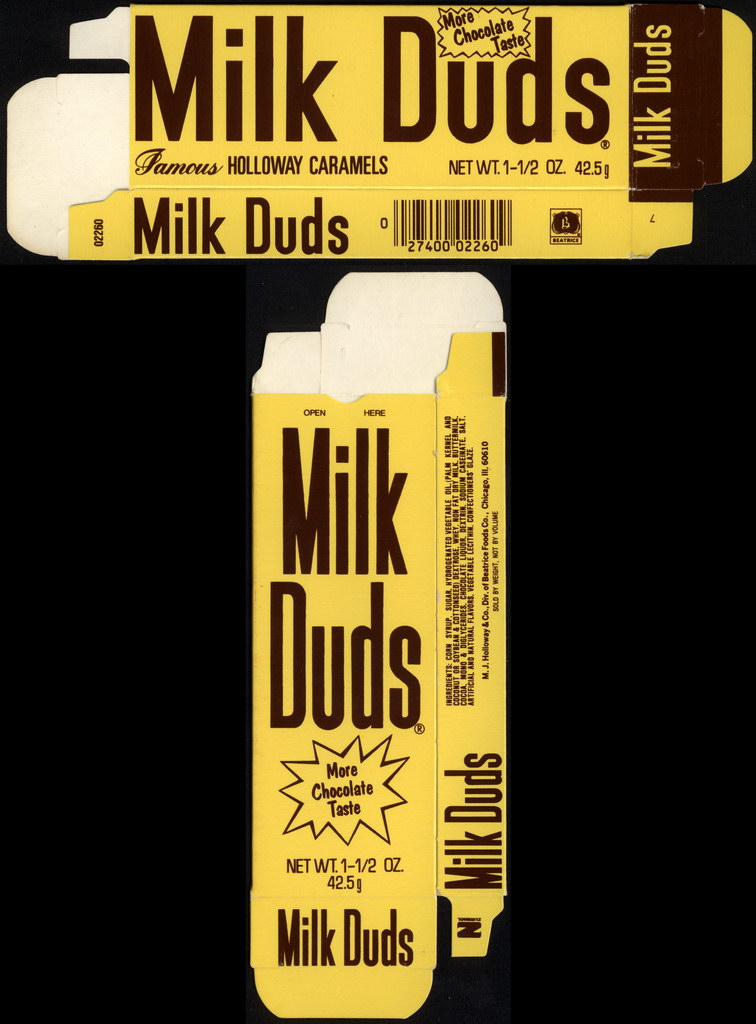 Beatrice - Holloway - Milk Duds - Famous Holloway Caramels - 1 1.2 oz candy box - late 70's