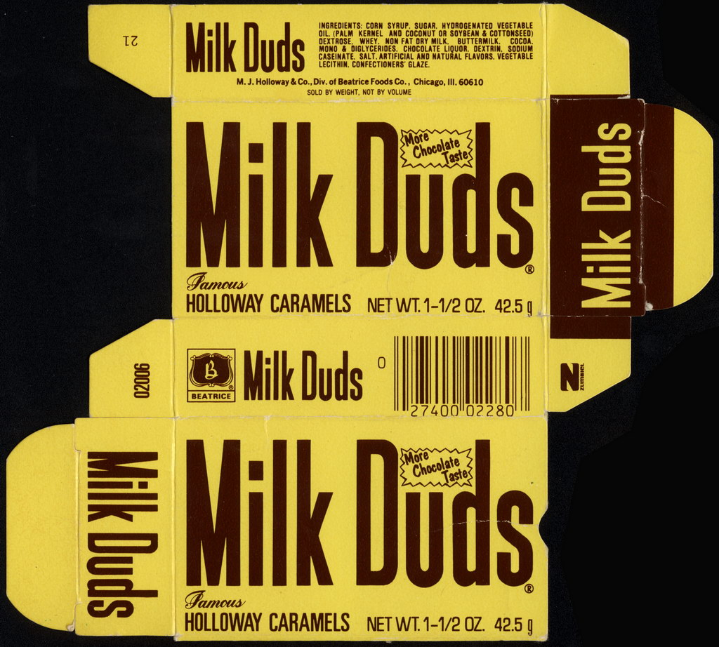 Beatrice - Holloway - Milk Duds - More Chocolate Taste - 1 1.2 oz candy box - late 1970's
