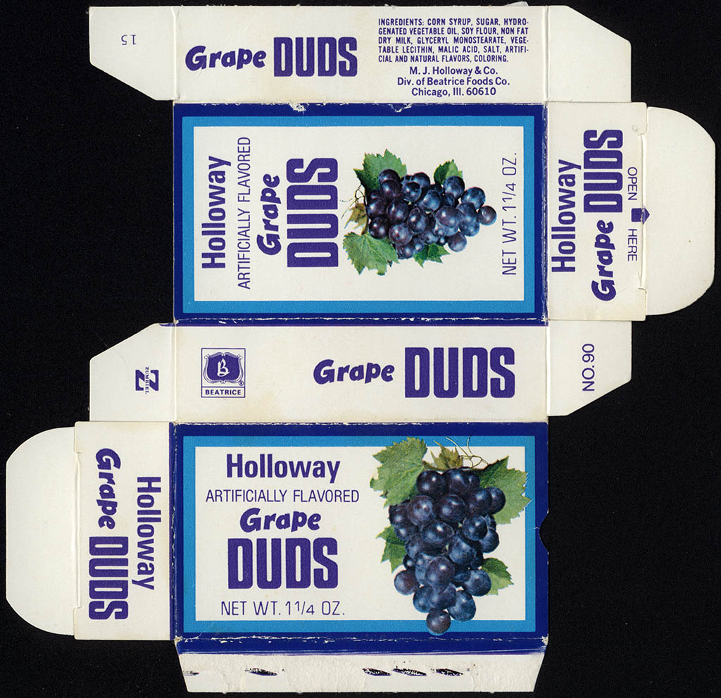 Beatrice - Holloway - Grape Duds - Milk Duds - 1 1/4 oz candy box - 1977