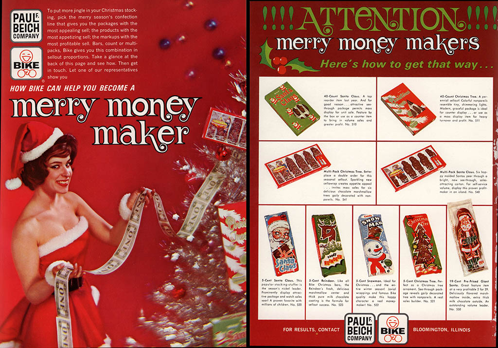 Beich - Christmas - Merry Money Makers - candy trade magazine ad double-page - August 1963