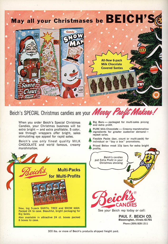 Beich - Christmas candy bars - candy trade magazine ad - National Candy Wholesaler Magazine - June 1971