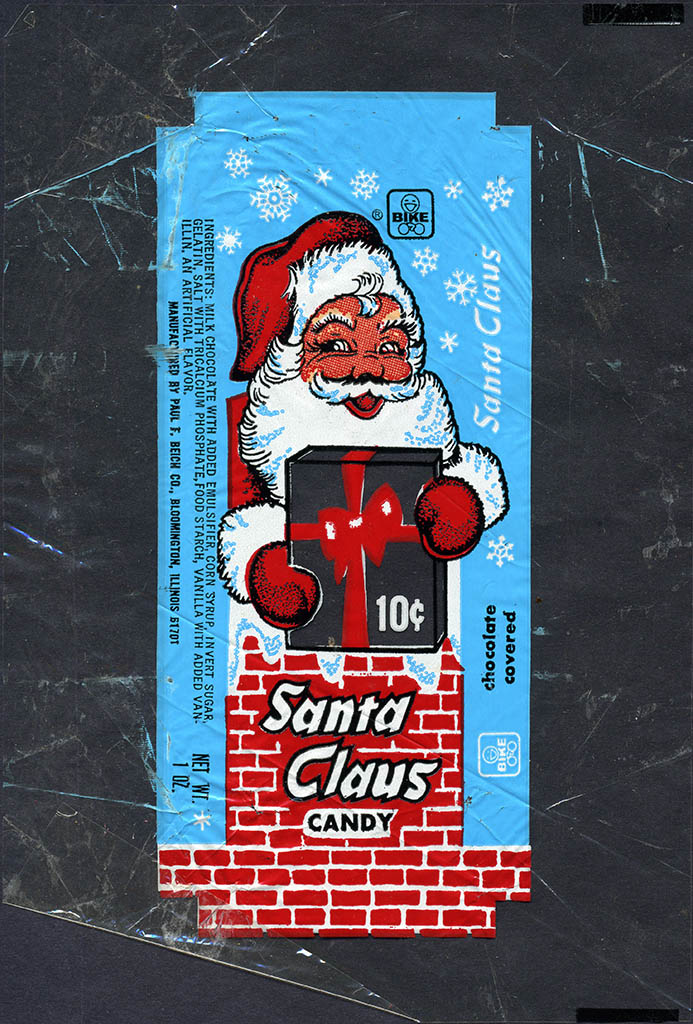 Bike Beich's - chocolate covered Santa Claus candy 10-cent wrapper - 1970's