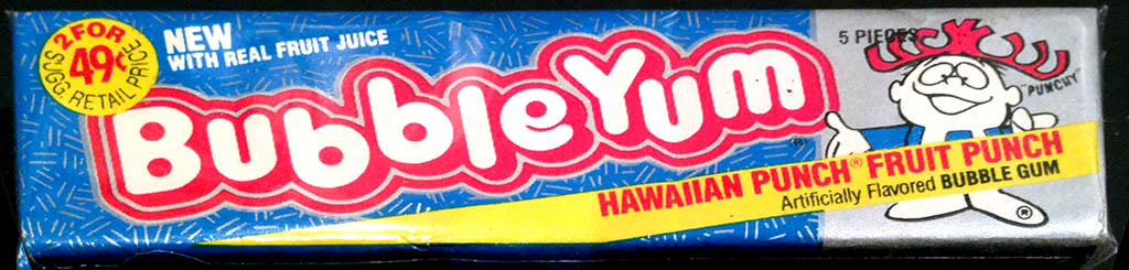 Bubble Yum - Hawaiian Punch flavor 49-cent pack - 1989