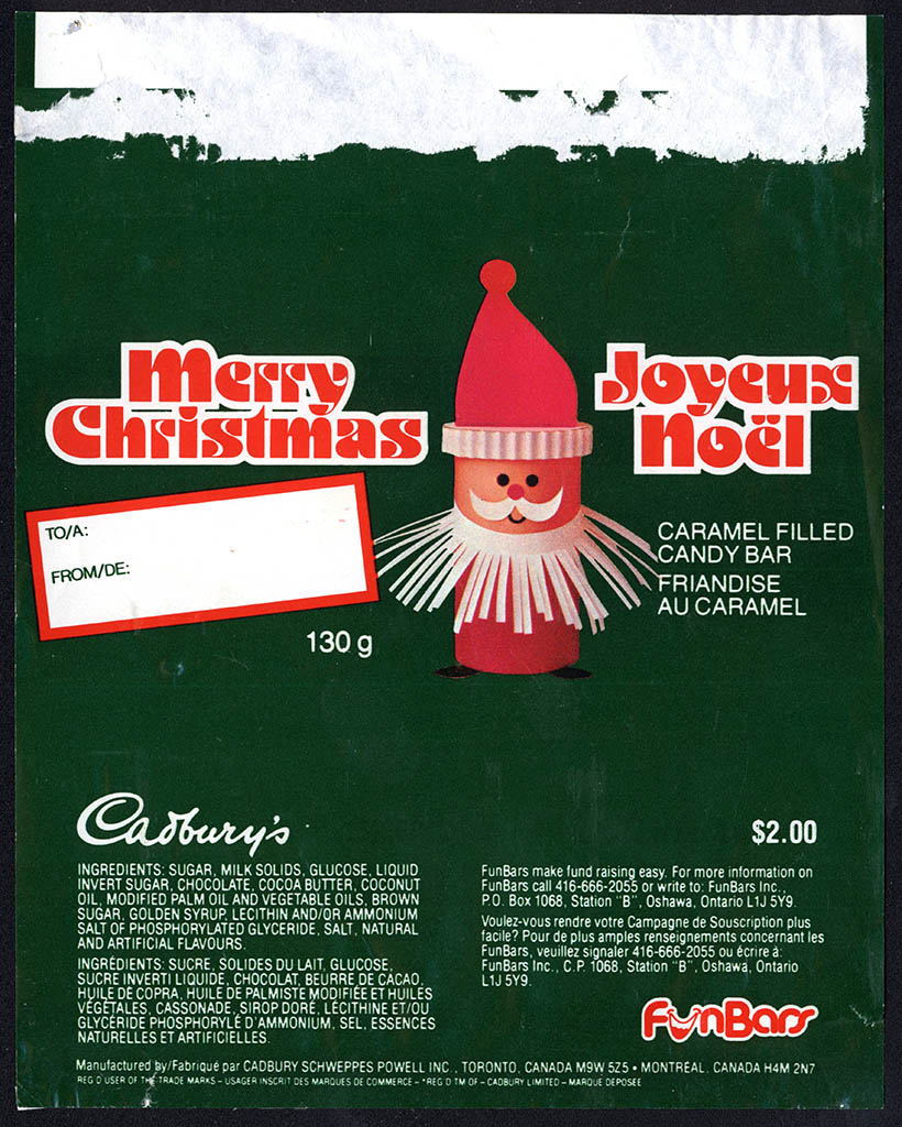 Canada - Cadbury's - FunBars - Merry Christmas fundraising candy bar wrapper - 1980's