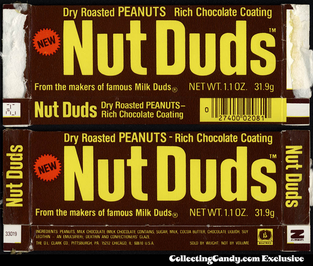 DL Clark - Nut Duds - NEW - chocolate-coated peanuts - candy box - Early 1980's