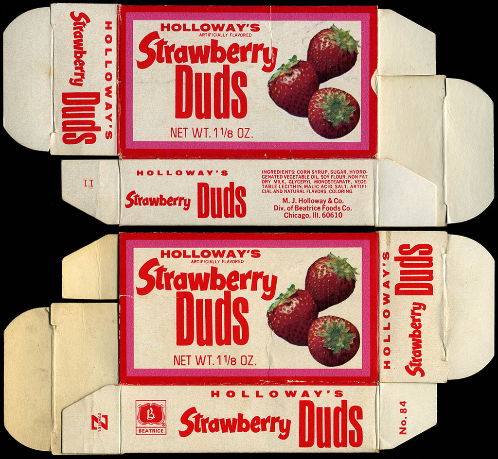 Holloway's - Strawberry Duds - candy box - 1970's